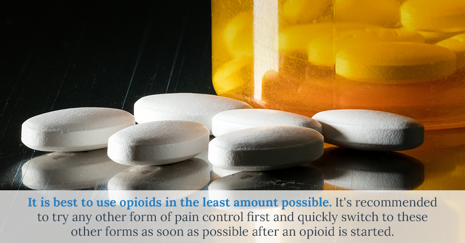 It is best to use opioids in the least amount possible. It's recommended to try any other form of pain control first and quickly switch to these other forms as soon as possible after an opioid is started